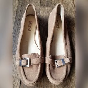 MICHAEL Michael Kors Tan Loafers Buckle Leather
